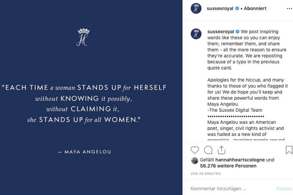Das Social-Media-Team von Herzogin Meghan und Prinz Harry entschuldigt sich für seinen Fehler.