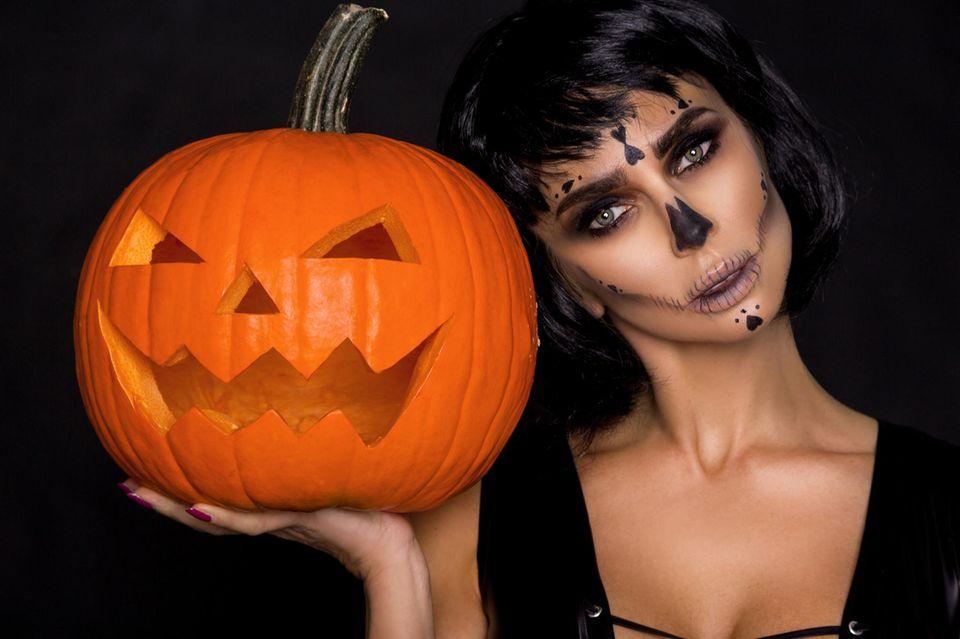 Halloween-Make-up, Halloween, Halloween-Schminke, Kürbis