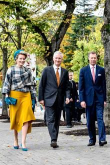 Tag 3  Am dritten ihrer Luxemburg-Reise besuchen Königin Mathilde und König Philippe zusammen mit Großherzog Henri das Europäische Schengen-Zentrum.
