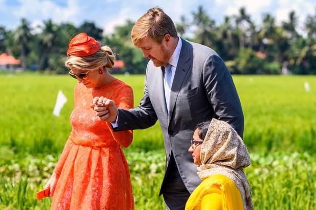 König Willem-Alexander hilft seiner Frau Königin Máxima beim Betreten eines Reisfelds in Kerala.