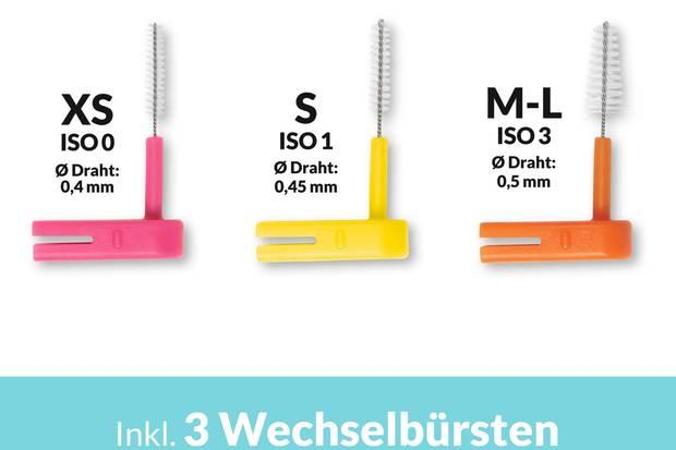 """""""Wingbrush"""" bietet drei Wechselbürsten mit jeweils unterschiedlicher Größe. So soll jeder Zwischenraum perfekt gesäubert werden."""