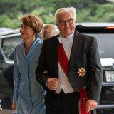 Auch Deutschlands Bundespräsident Frank-Walter Steinmeier ist mit seiner Frau Elke Büdenbender angereist.