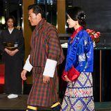 König Jigme und Königin Jetsun zeigen sich wieder intraditionellen Gewändern.