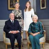 Das Geburtstagskind Prinzessin Elisabeth mit ihren Großeltern König Albert (vorne), Königin Paola (vorne) und Gräfin Anna Maria Komorowska.