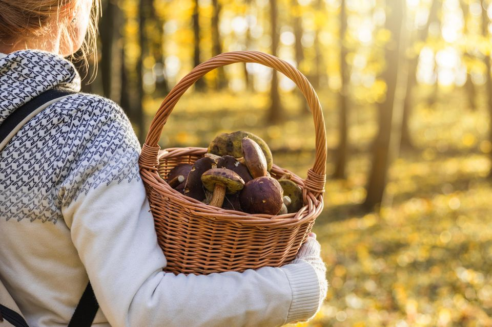 Frau mit einem Korb voller Pilze