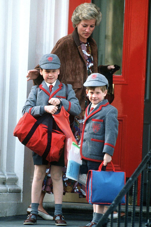 Prinz William und Prinz Harry, im Hintergrund Mutter Diana