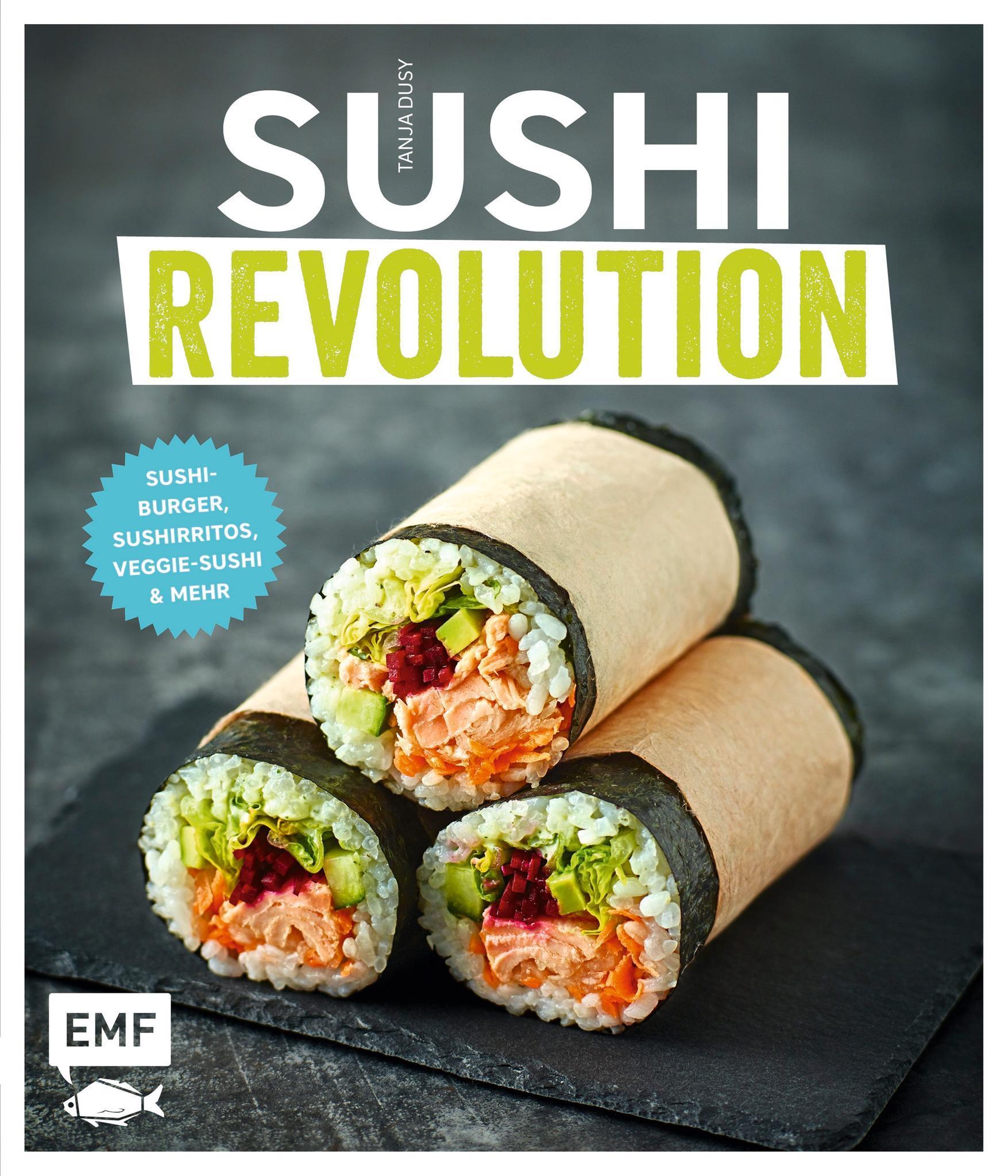 """Ob als Burger oder Burrito: Tanja Dusys 50 neu interpretierte Sushi-Spezialitäten bieten auch für eingefleischte Japan-Fans Überraschendes. Bebilderte Anleitungen und Grundrezepte sorgen dafür, dass auch Anfängern diese ausgefallenen Kreationen gelingen. (""""Sushi Revolution"""", EMF Verlag, 144 S., 19,99 Euro)"""