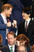 2. November 2019  Zusammen mit Kronprinz Akishino und seiner Frau Prinzessin Kiko besucht Prinz Harry das Finale desRugby World Cups 2019 in Yokohama. England spielt gegen Südafrika.
