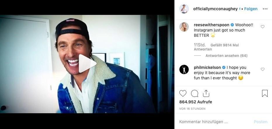 Reese Witherspoon begrüßt ihren Schauspielkollegen Matthew McConaughey auf Instagram.