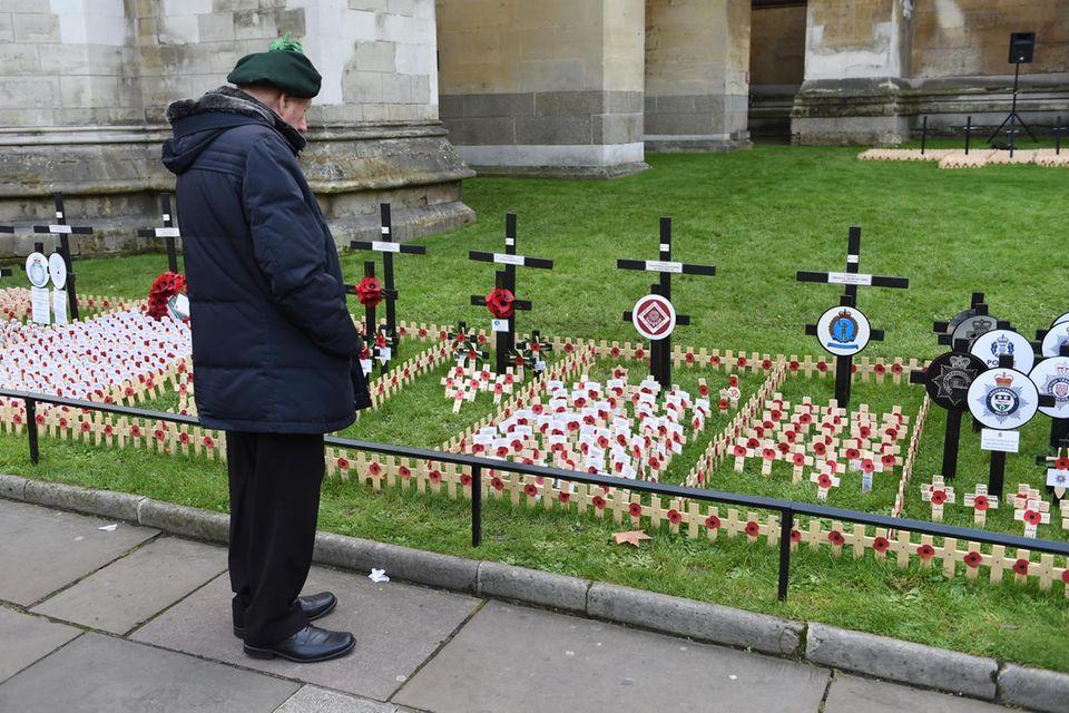 2017: Ein Besucher vor dem Remembrance Field an der Westminster Abbey betrachtet die Parzellen mit den Erinnerungszeichen.