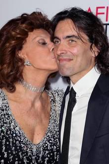 Sophia Loren und ihr SohnCarlo Ponti junior im Jahr 2014