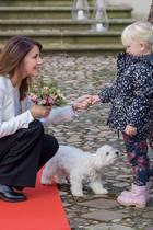 9. November 2019  Auch beim Begrüßen der Gäste steht Hundedame Cerise Prinzessin Marie freundlich zur Seite.