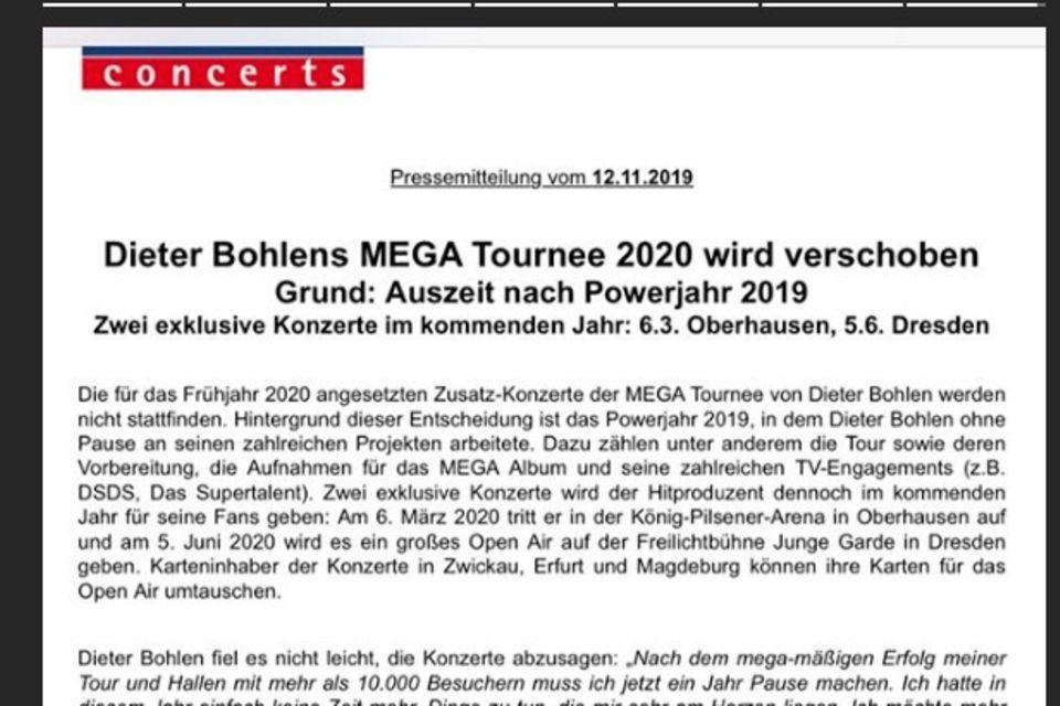 Dieter Bohlen sagt seine geplante Tour ab