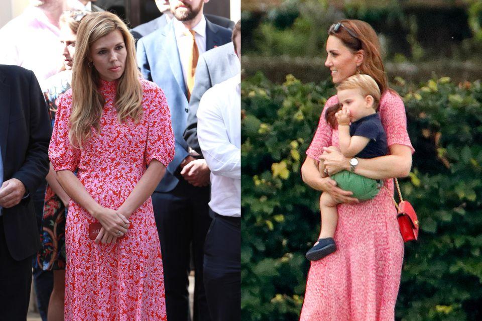 Das kann kein Zufall sein: Nur wenige Wochen nach Herzogin Catherine zeigte sich auch Carrie Symonds in einem pink-rot-geblümten Kleid um ihren Ehemann zu unterstützen.