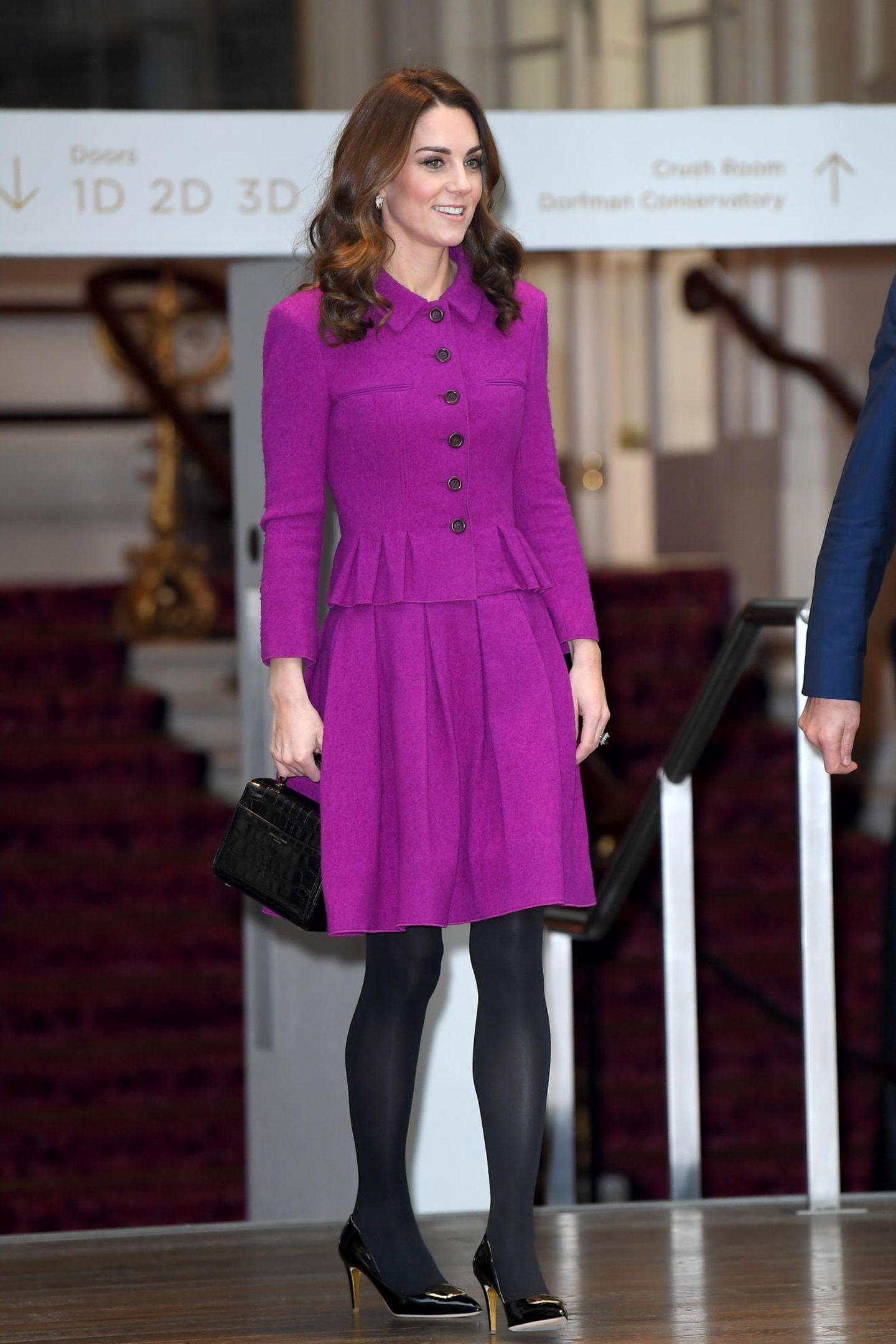 Im Januar 2019 trug Katedie stylische Kombination bei einer Ballettprobe im Royal Opera House in London.