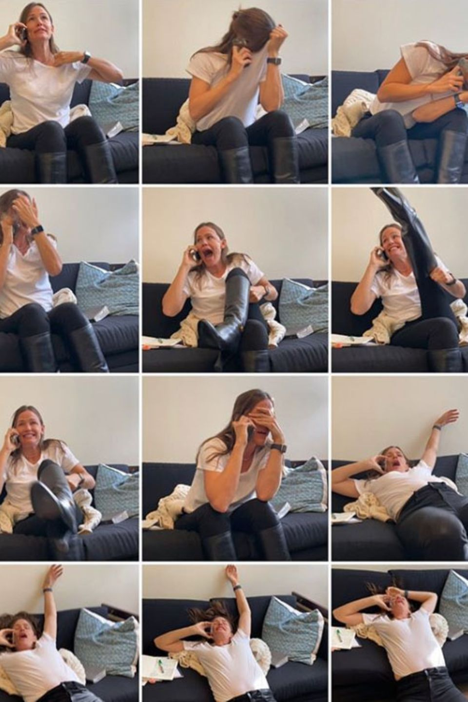 """28. November 2019  Ihre Collage verdeutlicht wohl am besten, in welchem Ausmaß sich Jennifer Garner über diesen speziellen Anruf freut. Am anderen Ende der Leitung ist nämlich nicht irgendwer, sondern ihr großes Vorbild, die Film- und Musik-LegendeJulie Andrews. Animiert zu dieser Überraschung wurde der """"Marry Poppins""""-Star in einem Interview mit Jennifers Freundin Katie Couric."""