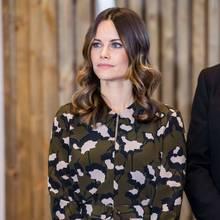 Prinzessin Sofia trägt zurEröffnung einer Schule inÄlvdalen ein Kleid mit abstraktem Camouflage-Print – dafür wird sie in den sozialen Netzwerken kritisiert.
