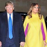 Mut zur Farbe - Melania Trump wählte für die Einladung zum Tee bei den britischen Royals eine gewagte Cape-Kleid-Kombi aus. Zu dem eleganten knallgelben Valentino Cape trug die First Lady gekonnt im Colour-Blocking-Stil einfuchsiafarbenesKleid und Louboutin-Pumps.