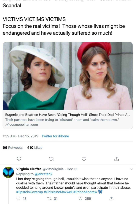 Virginia Roberts twittert über Prinzessin Beatrice und Prinzessin Eugenie.