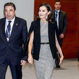 """Königin Letizia macht ihrem Ruf als """"Shopping Queen"""" wieder alle Ehre. Zum klassischen Etuikleid mit Karomuster von Hugo Boss kombiniert sie einen erschwinglichen Cape-Blazer von Zara."""