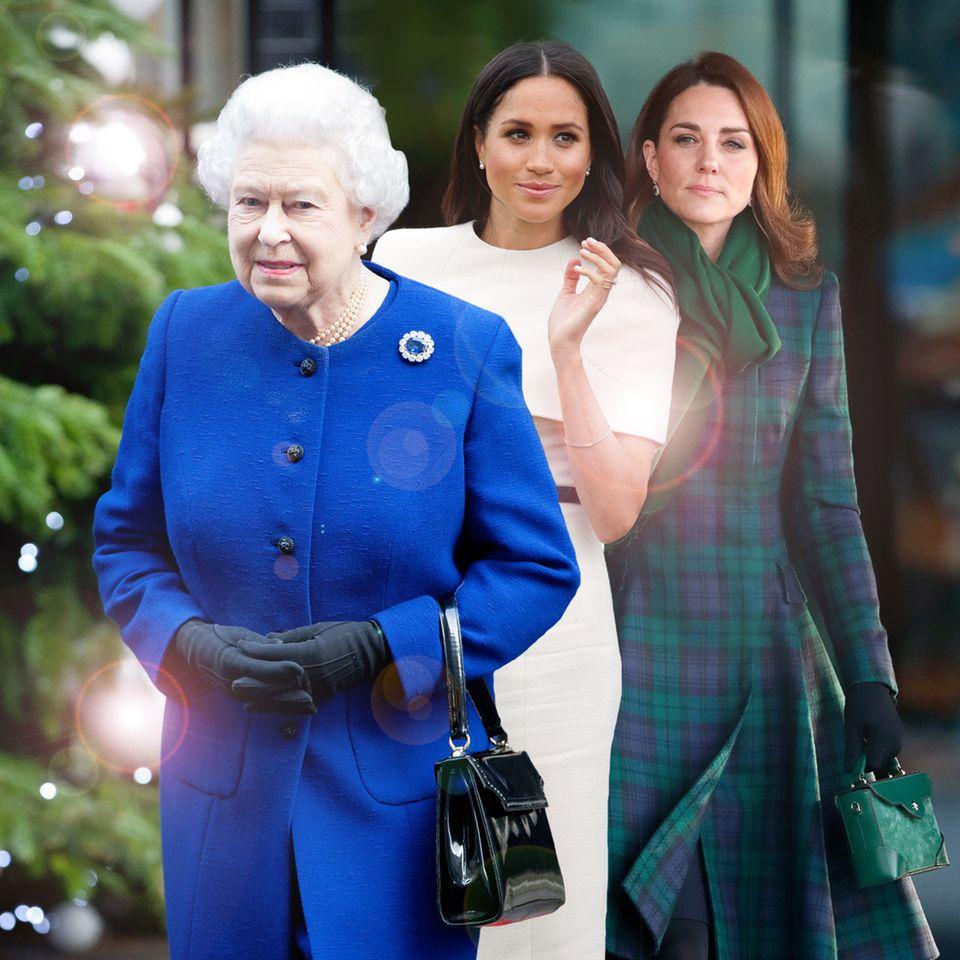 Queen Elizabeth, Herzogin Meghan und Herzogin Catherine