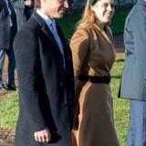 Nach den schweren letzten Wochen des Skandals um ihren Vater Prinz Andrew findet Prinzessin Beatrice an der Seite ihres VerlobtenEdoardo doch ein Lächeln für die Besucher in Sandringham.