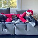 Platz da - jetzt wird gekuschelt! Was gibt es Schöneres als nach dem gemeinsamen Festessen faul auf der Couch zu liegen. Das denken sich auch Weihnachtsfrau Heidi Klum und ihre beiden Fellnasen. Und wo sitzt jetzt der Rest der Familie?