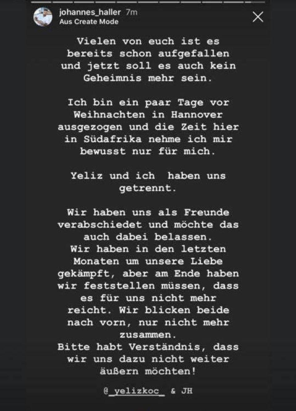 """Johannes Haller: """"Yeliz und ich haben uns getrennt"""""""