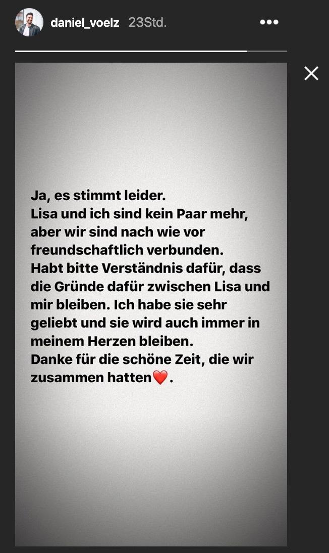 Mit diesem Post in seinen Instagram-Storys gab Daniel Völz die Trennung von seiner Freundin bekannt.