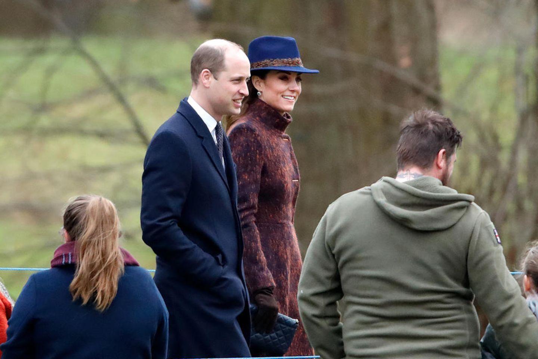 Prinz William und Herzogin Catherine sind am 5. Januar 2020 auf dem Weg zur St. Mary MagdaleneChurch.
