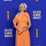 Wie eine Pfirsichgöttin erscheint Golden-Globe-Gewinnerin Michelle Williams in ihrem Dress von Louis Vuitton.