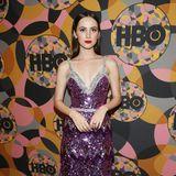 Maude Apatow funkelt bei der HBO-Party im lila- und silberfarbenen Pailletten-Look.