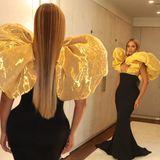 Hier ist der Name Programm: Passend zu den Golden Globes hat sich Sängerin Beyonce in eine extravagante,güldene Schale geworfen.