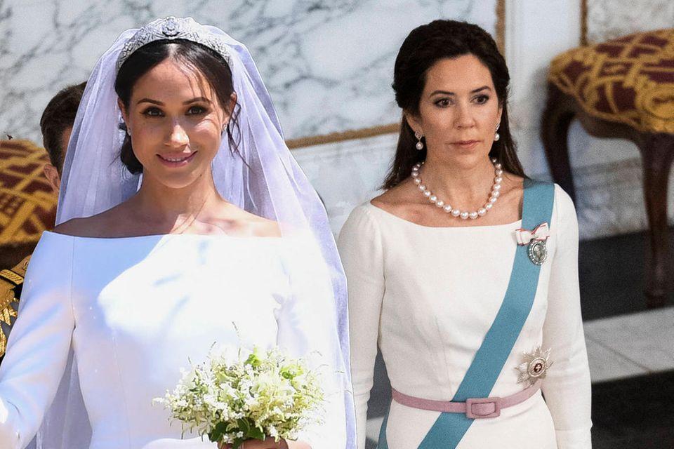 Prinzessin Mary trägt ein Kleid, das Herzogin Meghans Hochzeitsdress von Givenchy zum Verwechseln ähnlich sieht.