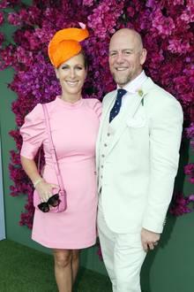 Farbenfrohe Zara Tindall mit Mann
