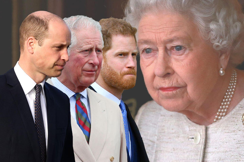 Die britischen Royals: Prinz William, Prinz Charles, Prinz Harry und Queen Elizabeth.