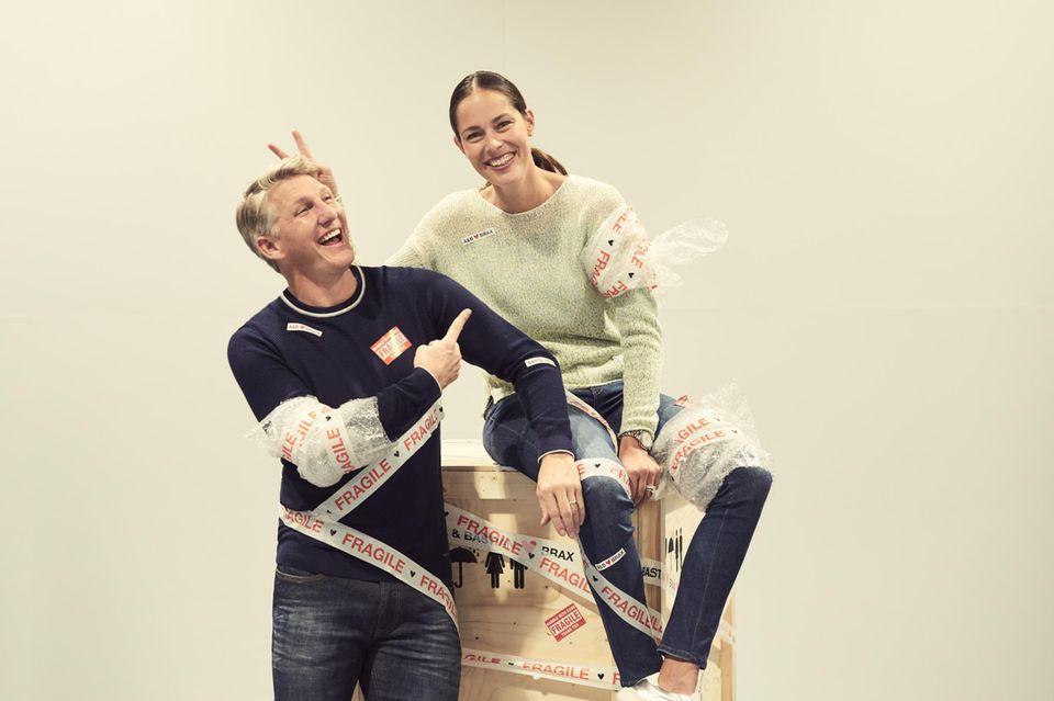 Behind the Scenes: Bastian Schweinsteiger und Ana Ivanović haben sichtlich Spaß vor der Kamera.