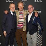 Herrenrunde:Christian von Daniels (Van Laack), Wolfgang Joop und AndreéMaeder (KaDeWe) bei der Van Laack Meisterwerk by Wolfgang Joop Show während derBerlin Fashion Week.