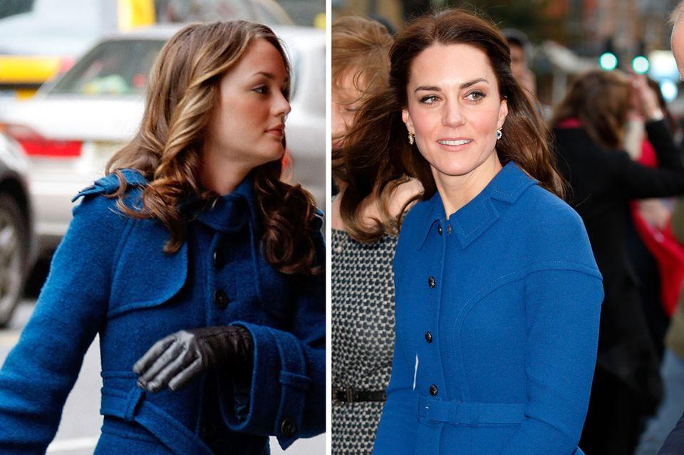 Blair Waldorf und Herzogin Kate im royalblauen Mantel