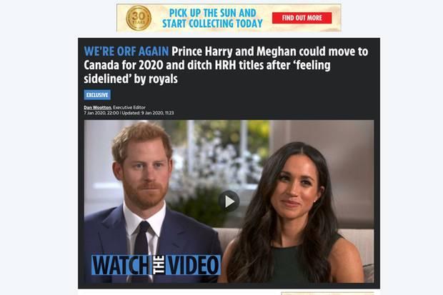 """So berichtete """"The Sun"""" auf seiner Website am 7. Januar 2019 über Harry und Meghan"""