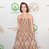 Den fröhlichsten Look präsentiert Zoey Deutch auf dem Red Carpet. Das Kleid stammt von Oscar de la Renta.