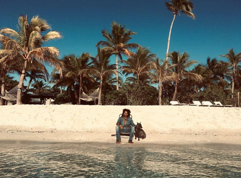 Lenny Kravitz unter Palmen
