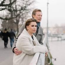 Großherzog Henri und Großherzogin Maria Teresa bei einem Spaziergang durch Genfam 26. Januar.