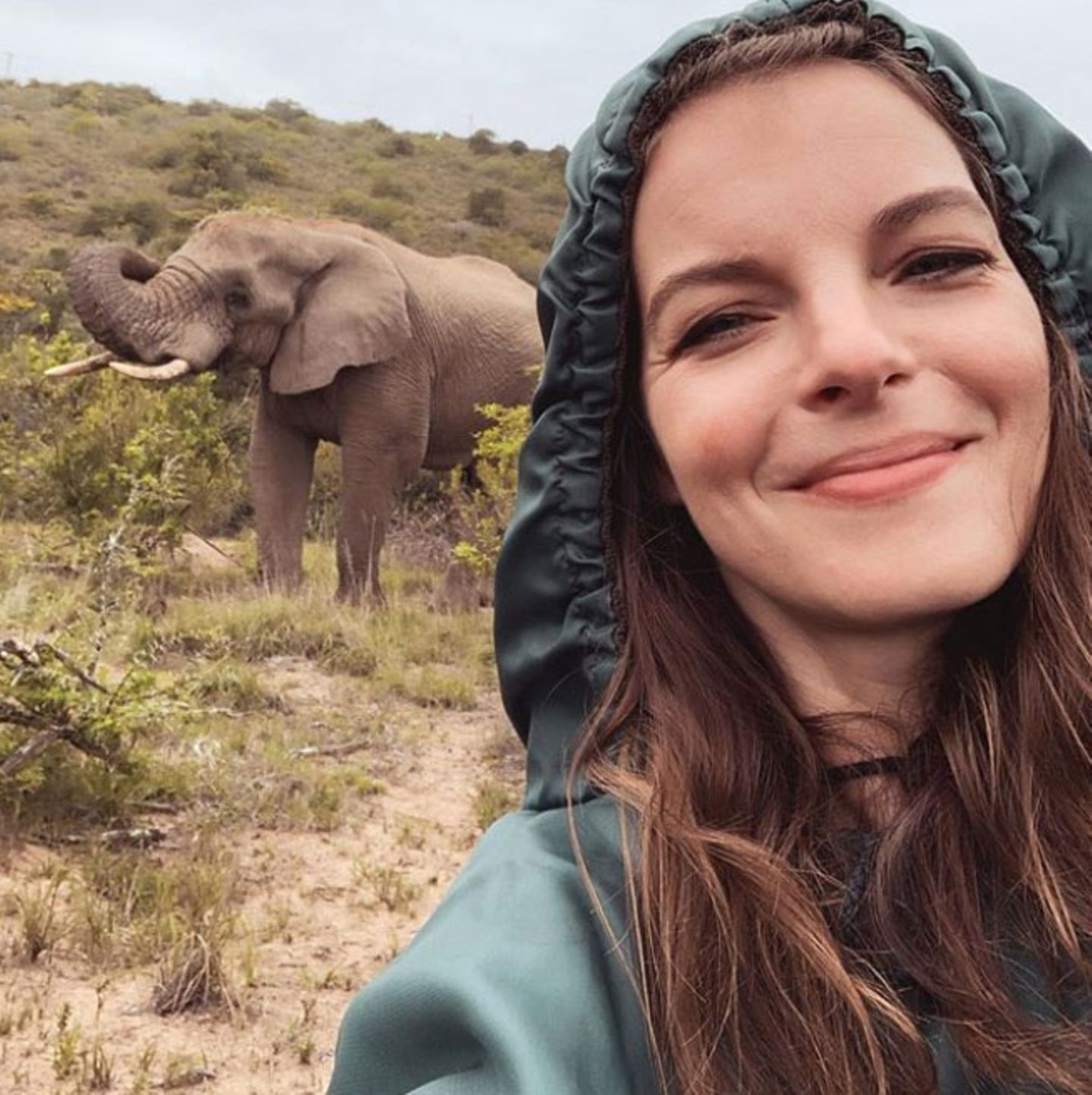 Während ihrer Südafrika-Reise mit den Liebsten kann Yvonne Catterfeld die atemberaubende Wildnis des Landes hautnah erleben. Auf Safari-Tourfängt sie einen beeindruckenden Moment mit diesemElefanten-Selfie ein.