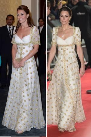 Links Herzogin Kate 2012 in Malaysia und rechts 2020 bei den BAFTAs