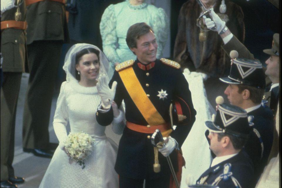 Die große Liebe: Nach dem Uni-Abschluss treten Maria Teresa Mestre und Prinz Henri von Luxemburg 1981vor den Altar.