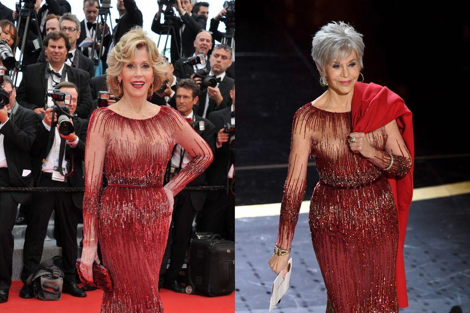 Jane Fonda scheint mit jedem ihrer 82 Jahre schöner zu werden. Ihre rote Elie-Saab-Robe sorgte schon 2014 für Begeisterung, nun trug sie es auch bei der Oscarverleihung 2020.