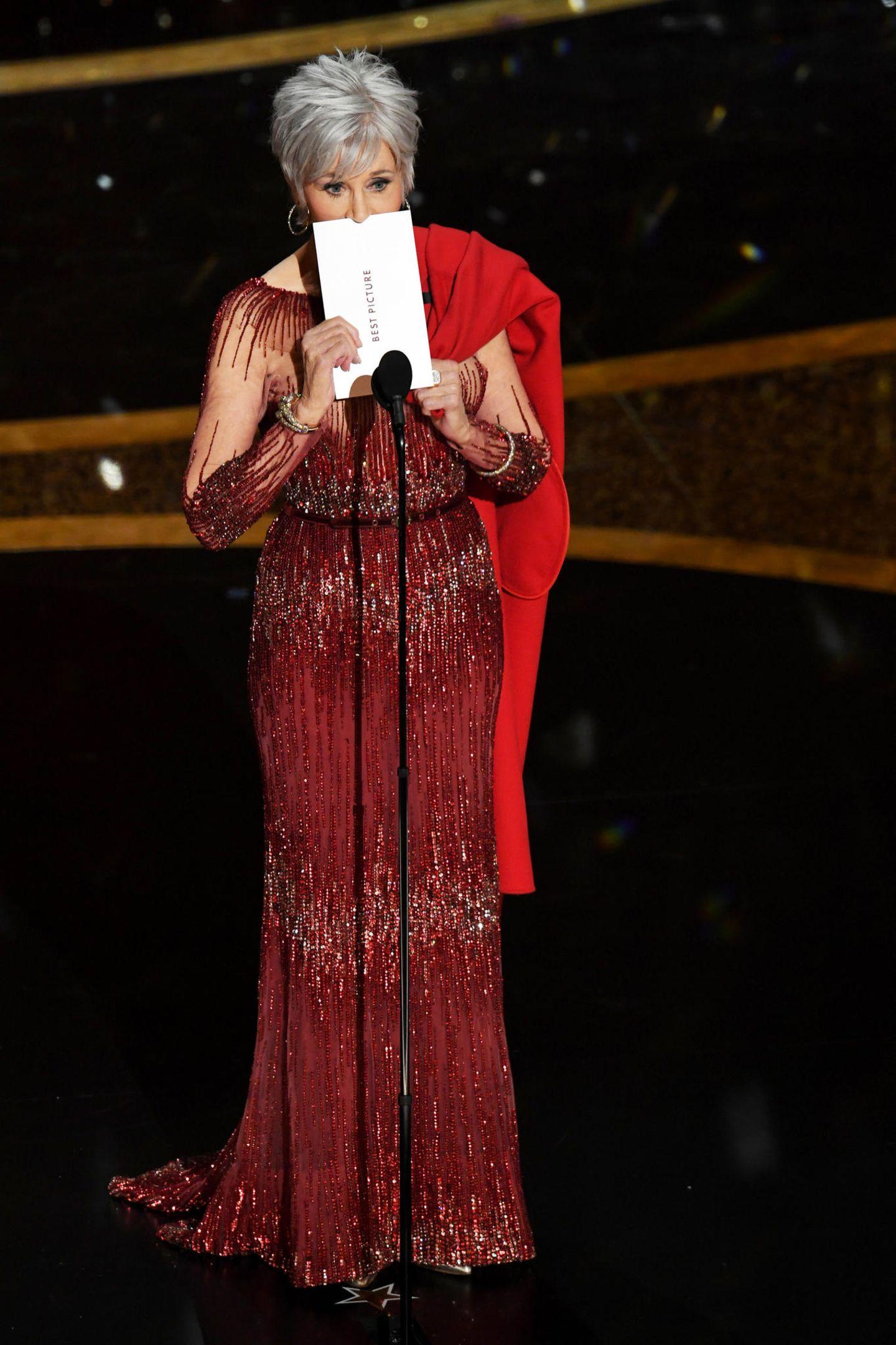 Jane Fonda spricht bei der Oscar-Verleihung
