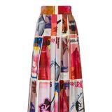 Jetset-Feeling schafft diese seidene Hose mit weitem Bein, die farbenfrohe Magazincover zieren. Von Zimmermann, ca. 850 Euro