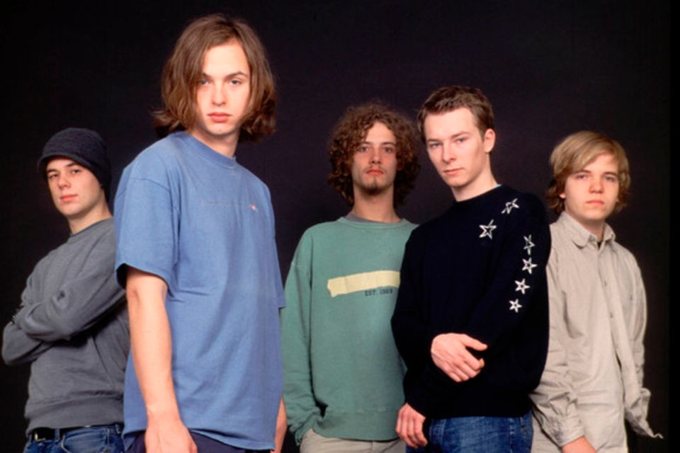 "Kai Fischer, Florian Sump, Kim Frank, Andreas ""Puffi"" Puffpaff und Gunnar Astrup als ""Echt"" im Oktober 2001"